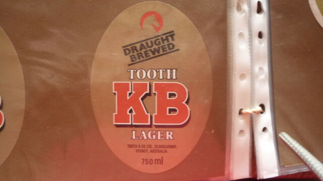OLD AUSTRALIAN BEER LABEL, TOOTH BREWERY, SYDNEY, KB LARGER 750ml 2