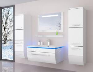 Badmöbel Set Weiss Hochglanz Badezimmermöbel 6Teilige LED Komplett 70cm Montiert