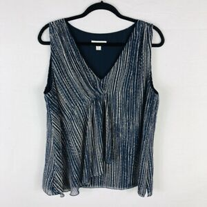 Coldwater-Creek-Size-Large-14-16-Sleeveless-Blouse-Top-Blue-Tan-Patterned