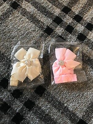 Initiative Baby Girls Pink And Cream Bows With Diamante Newborn Size Sturdy Construction