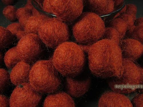 F77 X wool Felt ball 2cm Ruby Red bead Nursery DIY Garland craft supplies Nepal