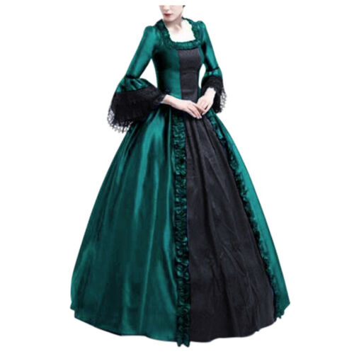 Women Lace Full Length Medieval Victorian Dress Theater Show Costume Long Palace