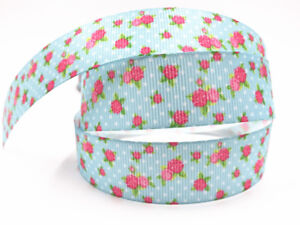 10-Yard-1-039-039-25MM-Little-rose-Printed-Grosgrain-Ribbon-Hair-Bow-Sewing-Ribbon
