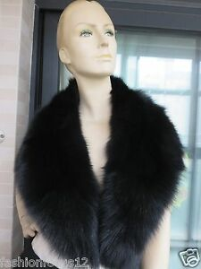 Real-Handmade-Fox-Fur-Collar-For-Coat-Scarf-black-100cm-17cm