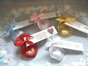 Details about 10 personalised organza bags with chocolate heart sweet wedding party favors