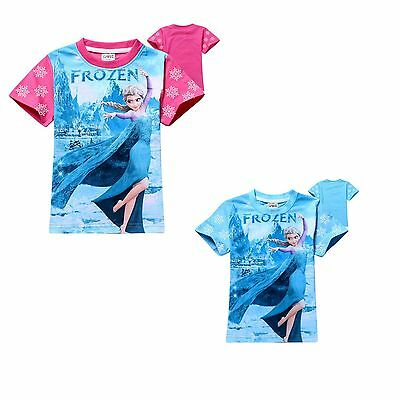 disney princess pink blue elsa girl summer  short Sleeve T-shirt top 2-8Years