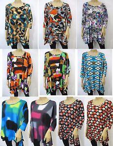 Slinky-Knit-Retro-Print-3-4-Sleeve-Scoop-Neck-Sharkbite-Tunic-Top-Sz-M-3X