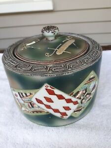 Rare-Hand-Painted-Moriage-Nippon-Card-Playing-Tobacco-Jar-or-Humidor-Nice