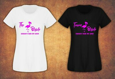 Hen Do Party Bride Tribe 2019 T-shirt Ladies Female  Pink Lettering