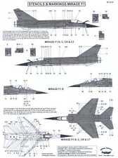Berna Decals 1/48 DASSAULT MIRAGE F1 Fighter STENCILS AND MARKINGS