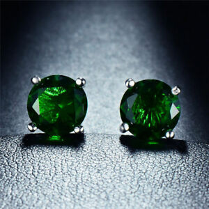 2-00-CT-Emerald-Created-Gemstone-7mm-Stud-Earring-in-18K-White-Gold-Plated-ITALY