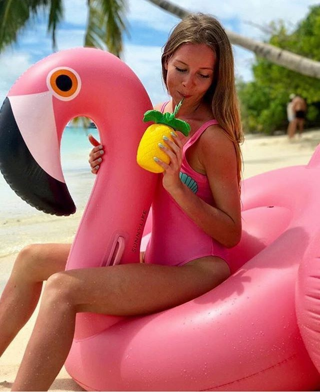 SUNNYLIFE SUNNYLIFE SUNNYLIFE ADULT FLAMINGO LUXE RIDE-ON POOL FLOAT BIRD INFLATABLE BLOW UP SEA 1e943e