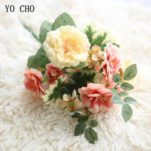 Artificial Flowers Silk Camellia Bouquet 5 Heads Fake Ross Home Room Party Decor
