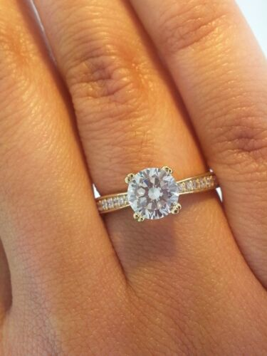1.5 ct Round Cut Diamond Solitaire Engagement Ring 14K Solid Yellow Gold