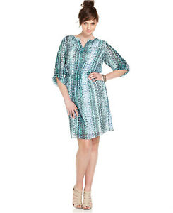 Details about VINCE CAMUTO ~Size 2X~ Geometric Print Chiffon Plus Size  Dress $134 Retail
