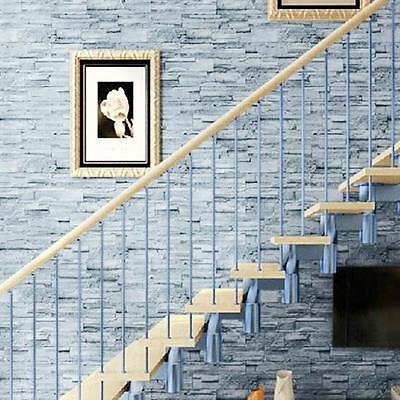 3D Stacked Brick/Stone Wall Sticker Decor Vinyl Wallpaper Self Adhesive Gray