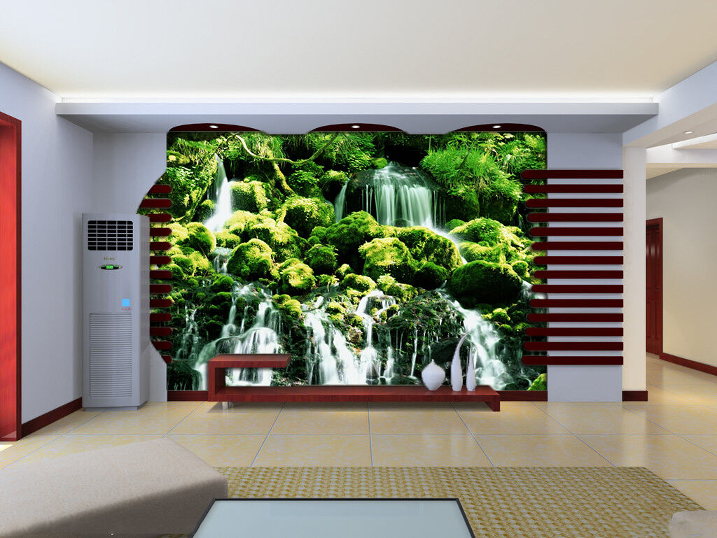 3D Waterfall Grün Trees Wall Paper wall Print Decal Wall Deco Indoor wall Mural