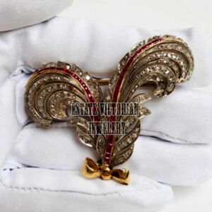 1d83baf6b 4.90Cts Rose Cut Diamond Ruby Studded Silver Vintage Feather Brooch ...