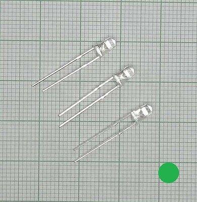 10X wasserklar Led (3mm, 3,0mm) grün + Widerstand  - E185