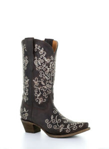 8478624dd9b Details about CORRAL Girl's Western Snip Toe Brown Floral Embroidered  Cowboy Boots E1309 NIB