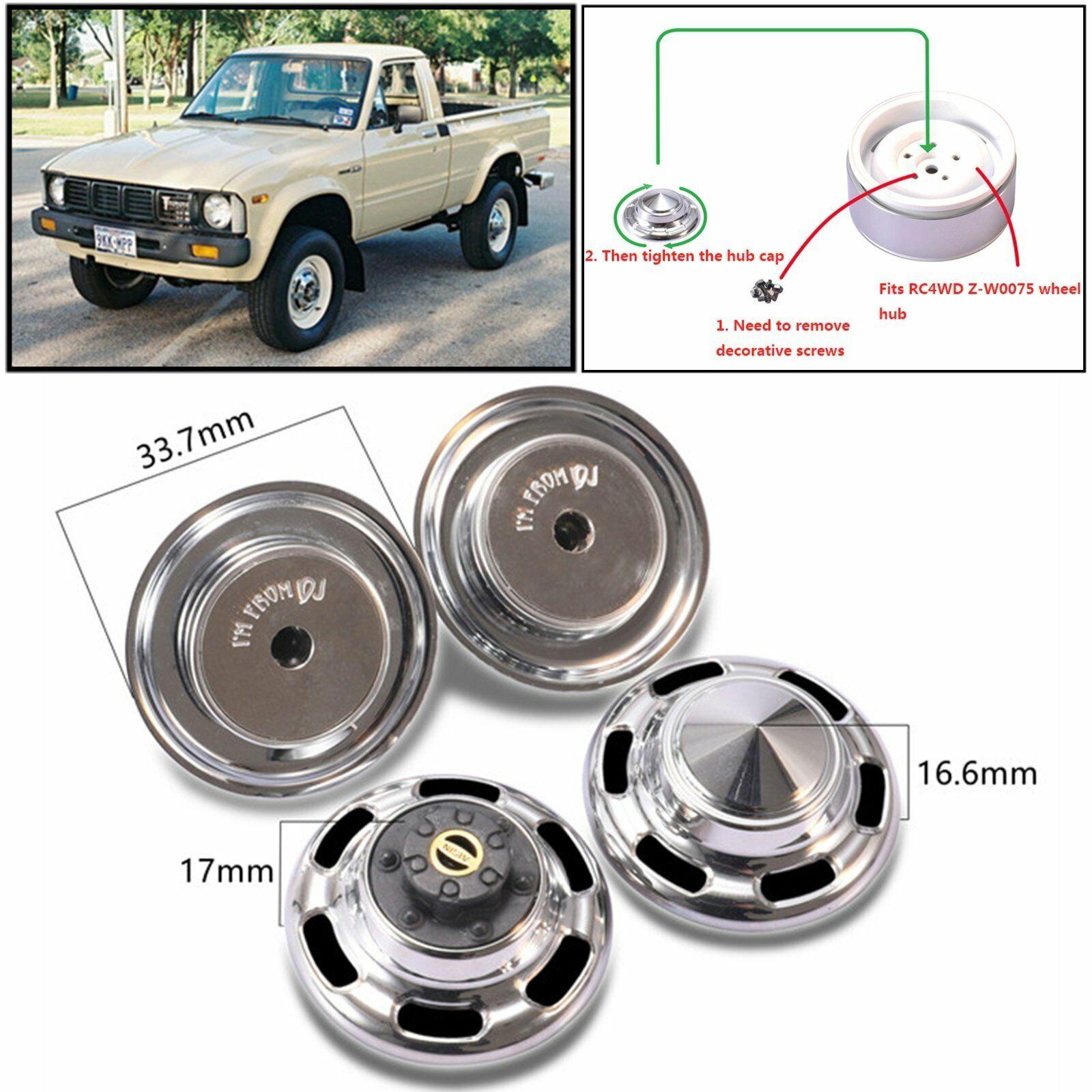 4x Metal Wheel Hub Cap Cover For TOYOTA TF2 FJ40 FJ45 FJ55 HPI lc70 4WD RC Car