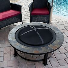 Outdoor Wood Burning Fire Pit Slate Table Top Round Bowl Fireplace Patio Heater