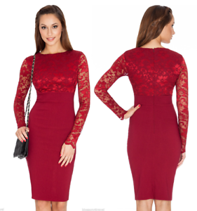 Goddess-Wine-Long-Lace-Sleeve-Bengaline-Fitted-Cocktail-Party-Evening-Dress