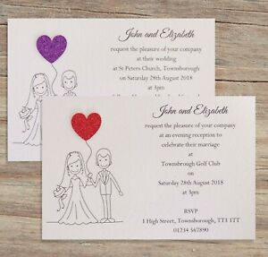 10-Wedding-Invitations-Evening-Invites-Personalised-amp-Handmade-with-Envelopes