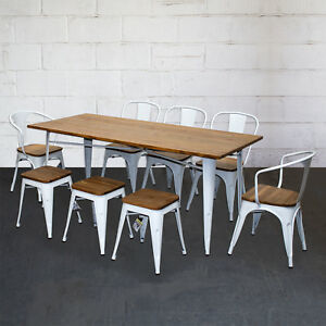 Details About Tolix Style Dining Sets Rectangular Table Chairs White Metal Wood Restaurant