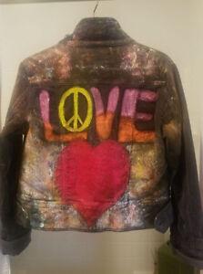 People Artist Hand Rocker Jacket Concert Peace Free Love Med Original Painted BdCxeor