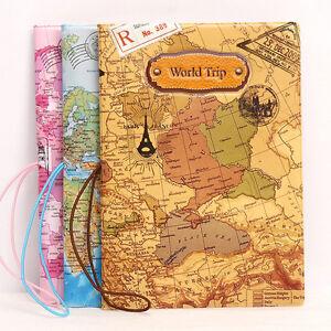 Weltkarte-Reisepasshuelle-Pass-Huelle-Reisepass-Etui-Passport-Holder-Case-Cov-N1D6