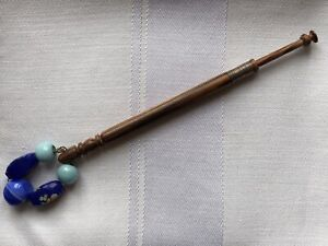 Lace-Bobbin-Wooden-Wood-Stringing-Blue-Millefiori-Glass-Aqua-Beaded-Spangle