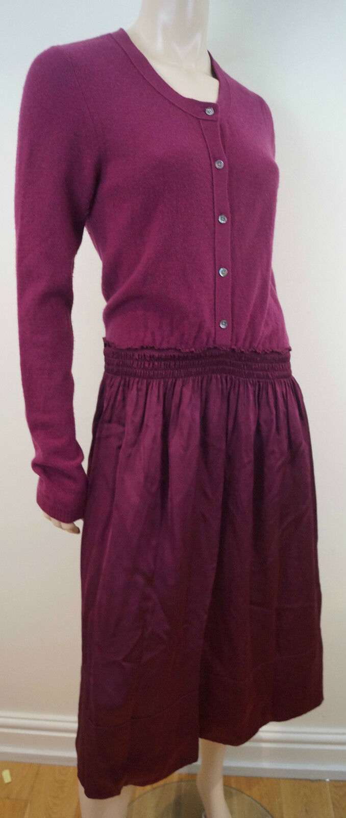 DKNY women KARAN Plum Pink Wool Cashmere Elasticated Waist Jumper Dress Sz L