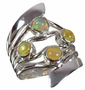 Handmade-925-Solid-Sterling-Silver-Ring-Natural-Ethiopian-Opal-US-Size-6-R-3249