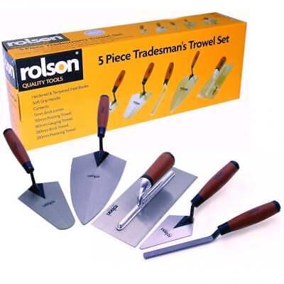 5 Piece Tradesman Trowel Set Hand Brick Plastering Builder Pointing Laying Tool