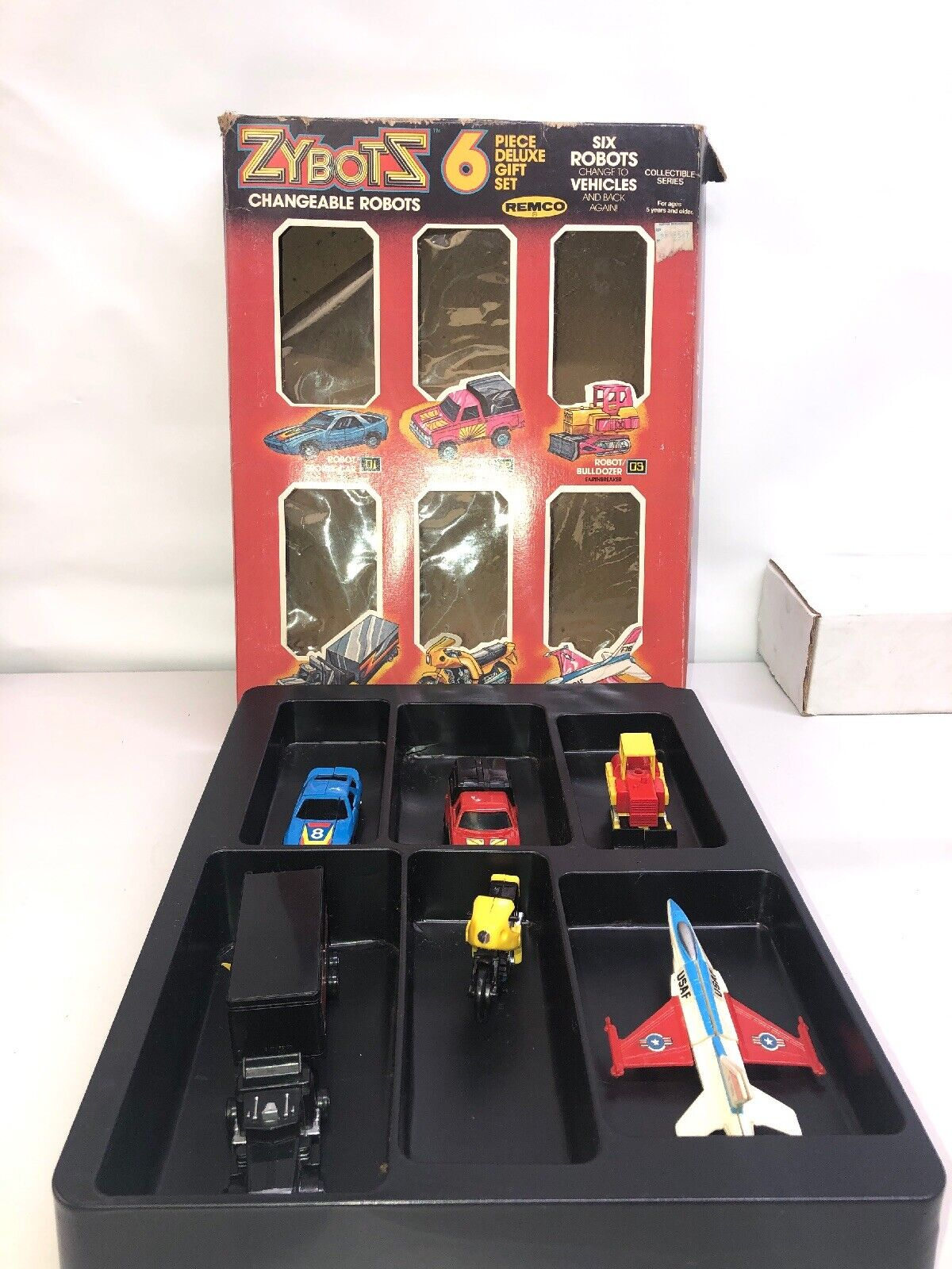 1984 Remco Zybots 6 Piece Gift Set KO Transformers With scatola
