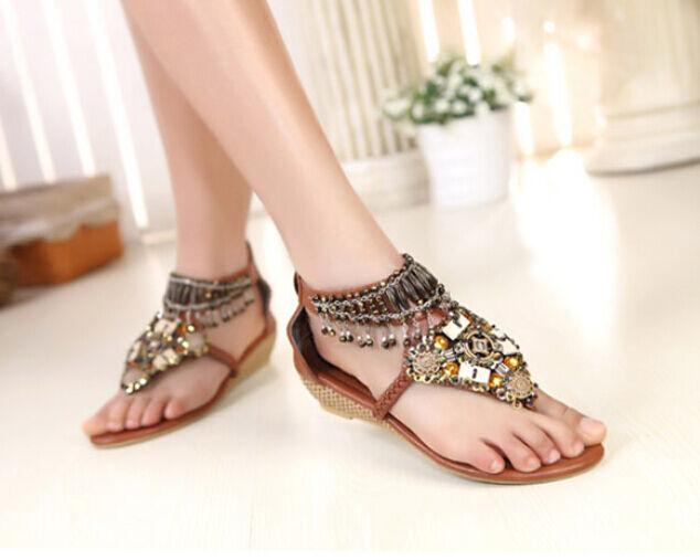 Boho Beach Rhinestone Paillette Pearl Indian Roma Sandal Flip Flop Women shoes