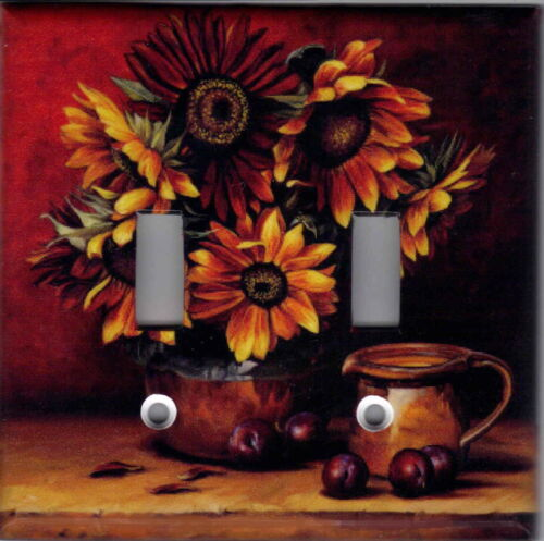 SUNFLOWERS WITH PLUMS KITCHEN DECOR DOUBLE LIGHT SWITCH PLATE