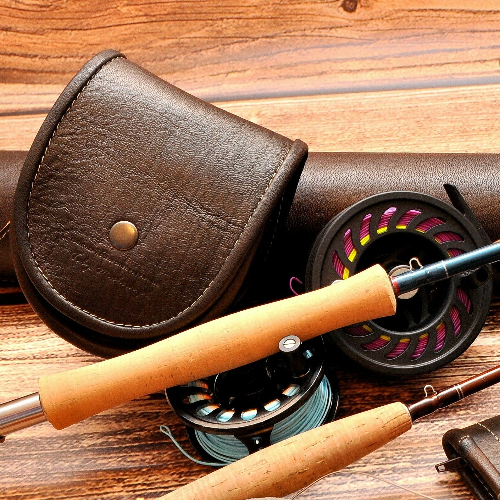 Exclusive reel case bag for fly reels made from carpathian deer natural leather
