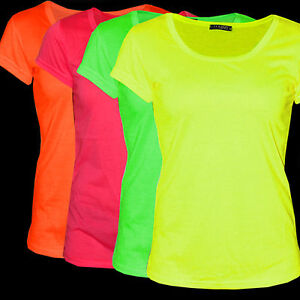 neon shirts t shirts frauen damenshirts neon kurzarm s m l ebay. Black Bedroom Furniture Sets. Home Design Ideas