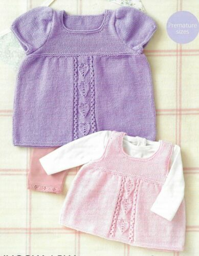Sirdar 4 Ply Knitting Pattern 4885 Dress and Pinafore for Premature to 2 Yrs