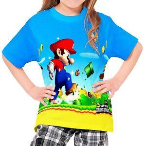 Super Mario Bros Boys Kid Youth T-Shirt Tee Age 3-13 New