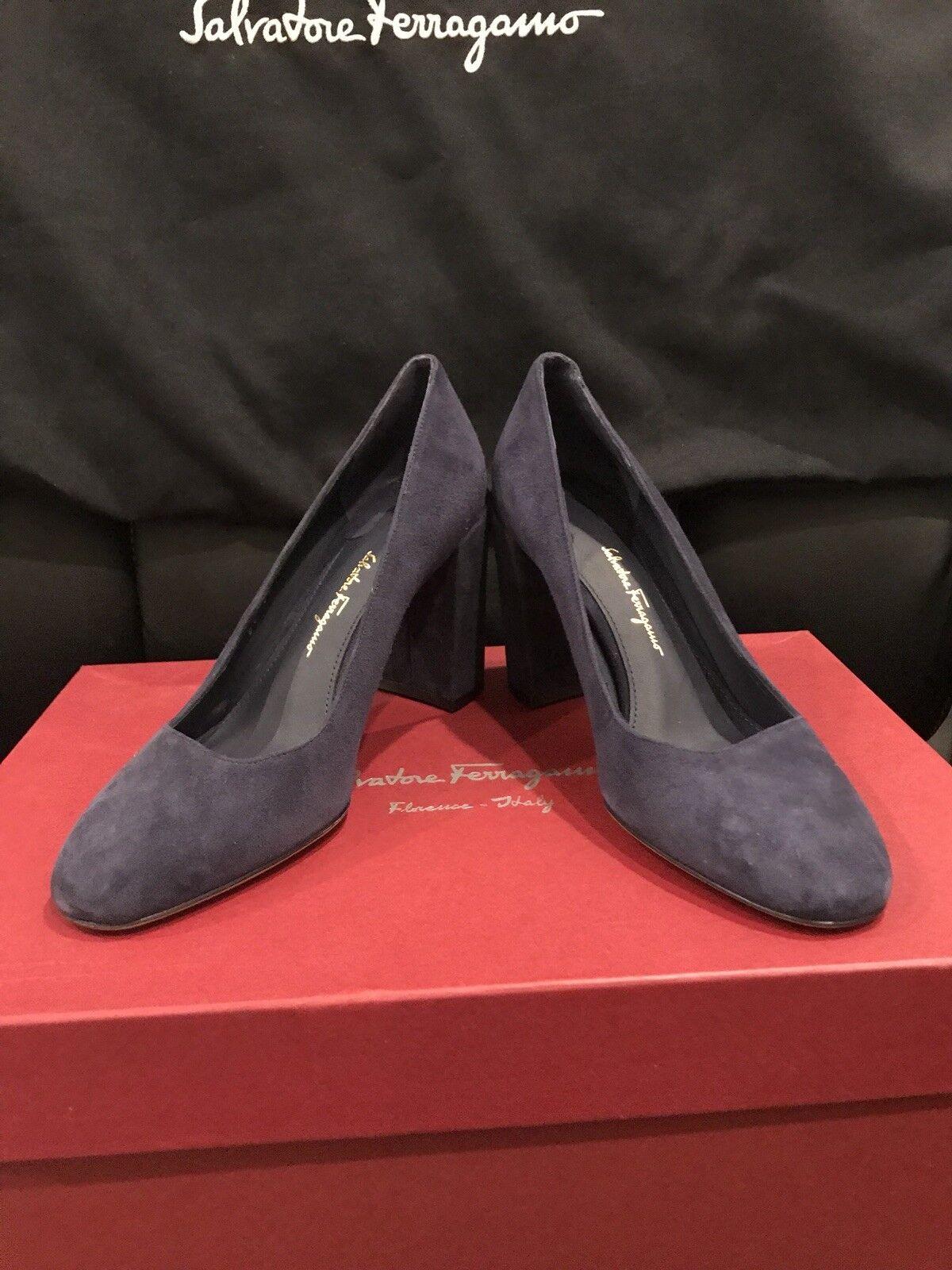 Salvatore Ferragamo Arezzo 85 Gli azul Suede Mujer Zapatos Caja Talla 6 B Nuevo En Caja Zapatos 9d7c8a