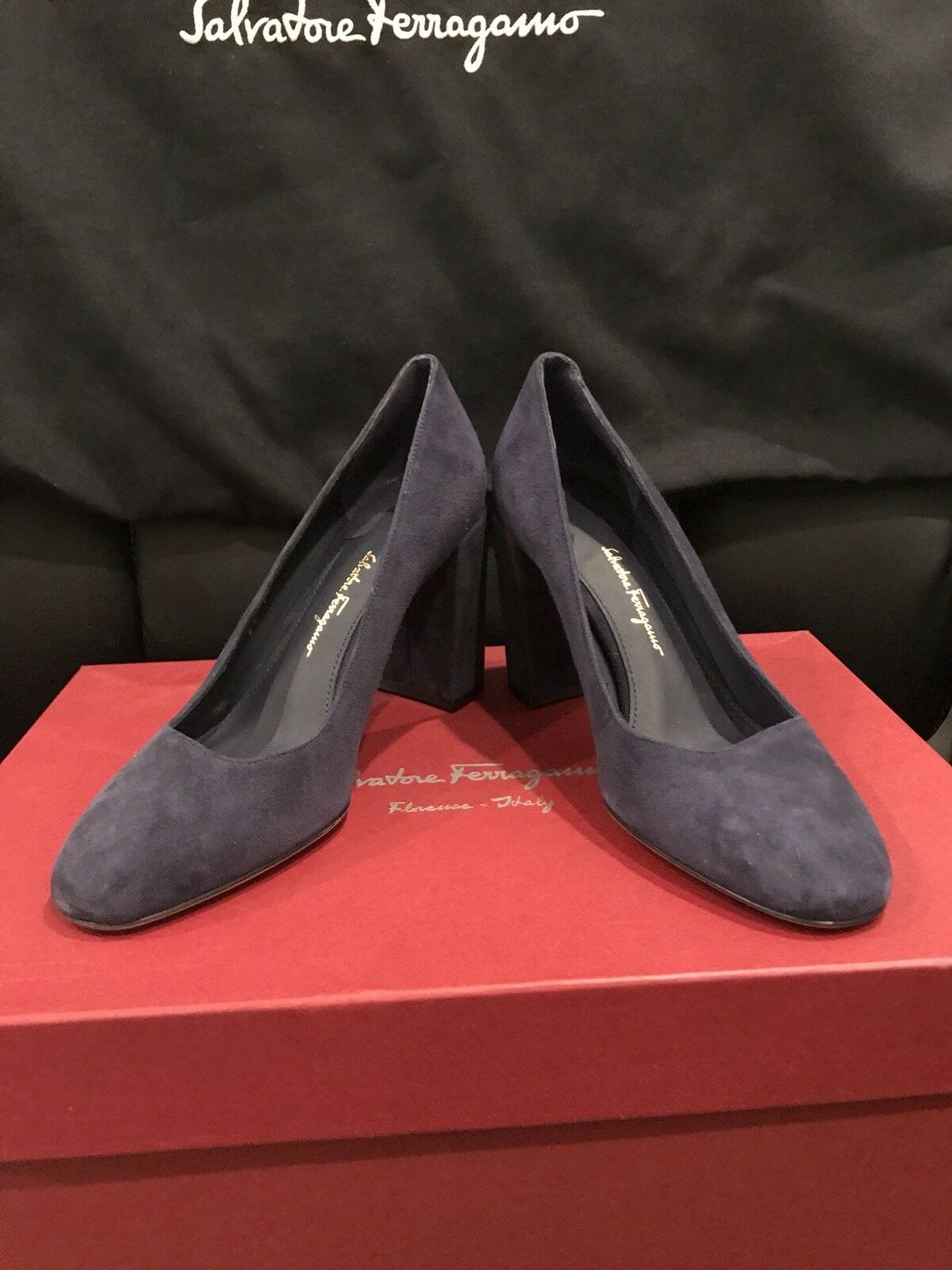 Salvatore Ferragamo Arezzo 85 Mirto bluee Suede Womens shoes Sz. 6 B NIB