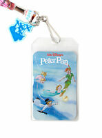 Disney Peter Pan Movie Book Covers Id Holder Lanyard W/ Hook Ship Rubber Charm