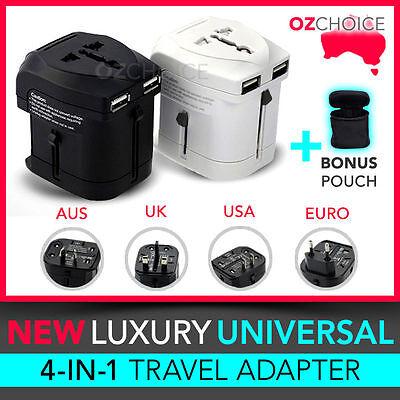 NEW International Universal Travel Adapter USB Wall AC Power to AU EUROPE USA UK