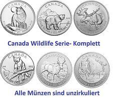 6x 1oz Silber Wildlife Canada Komplett Wolf Grizzly Elch Puma Antilope Bison