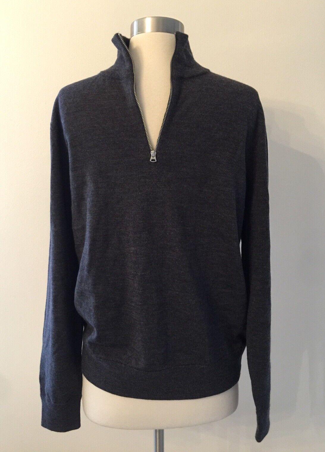 New J crew mens Italian merino wool Half Zip sweater grau Medium M/L H0114