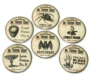 Potion-Labels-Fridge-Magnets-Set-6pc-55mm-Witch-Potions-Creepy-Gothic-Spooky