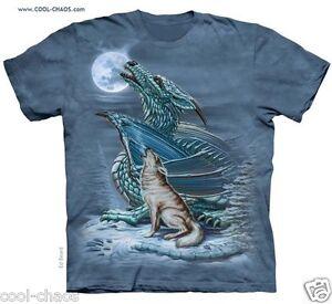 Maglietta Tinto Lupo grigio Nodi Bizzarra Urlo Verde Dragon Moon blu T shirt A pd7qOwd